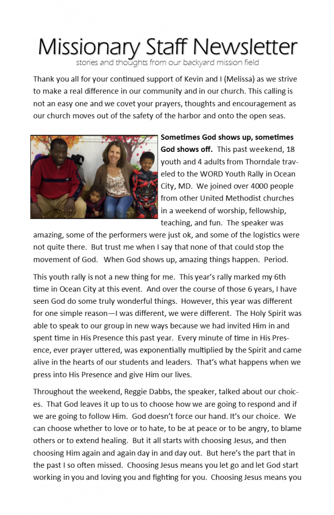 Missionary Staff Newsletter 01-17-16 pg 1
