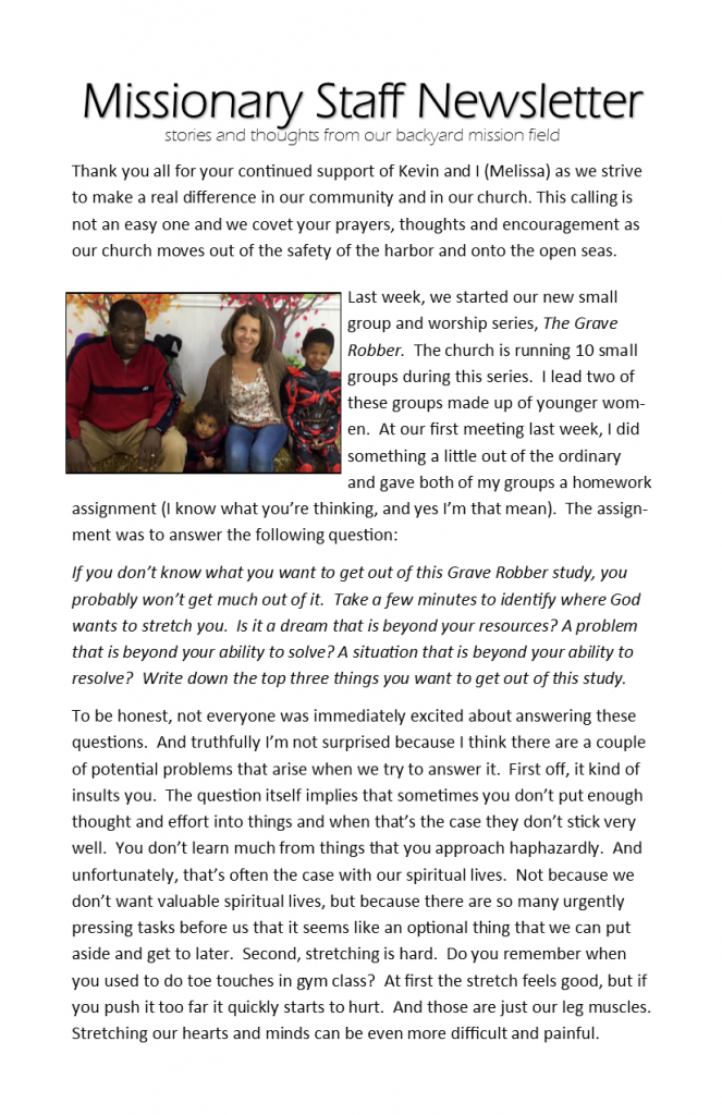 Missionary Staff Newsletter 02-28-16 pg 1