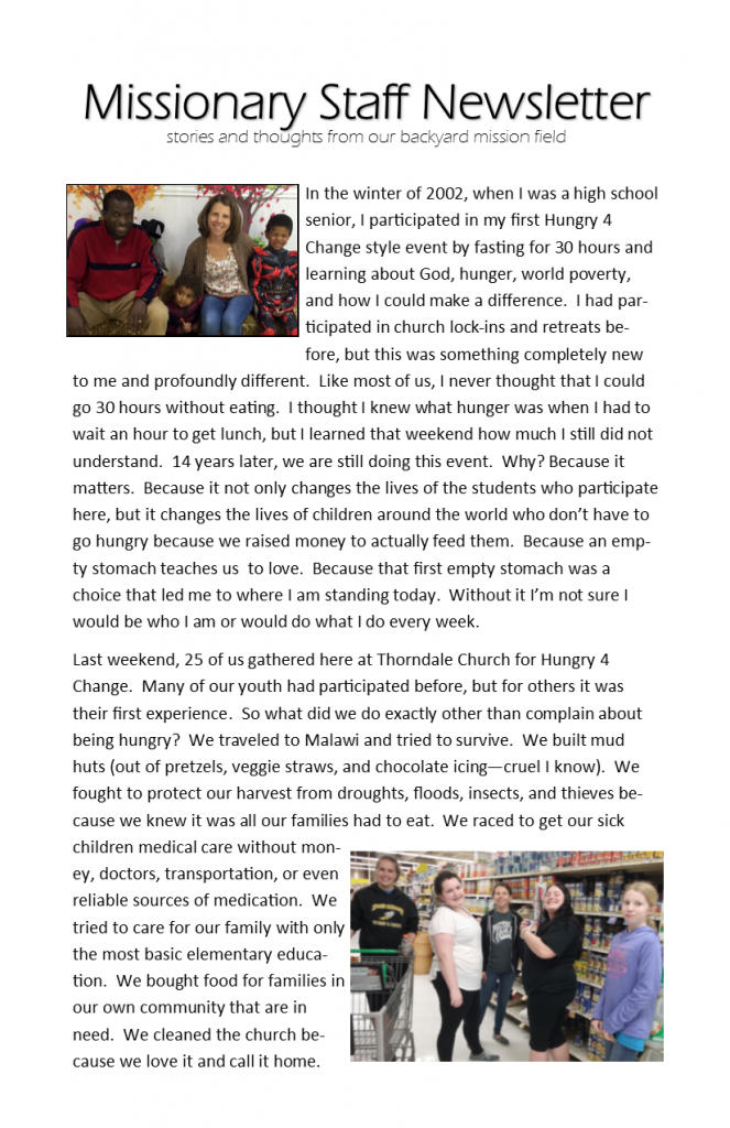 Missionary Staff Newsletter 04-10-16 pg 1